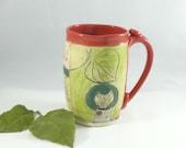 Big handmade pottery mug , Pottery Coffee Mug,  Coffee cup  - teacup / beer stein or tankard with owl holds 20 ounces WM313