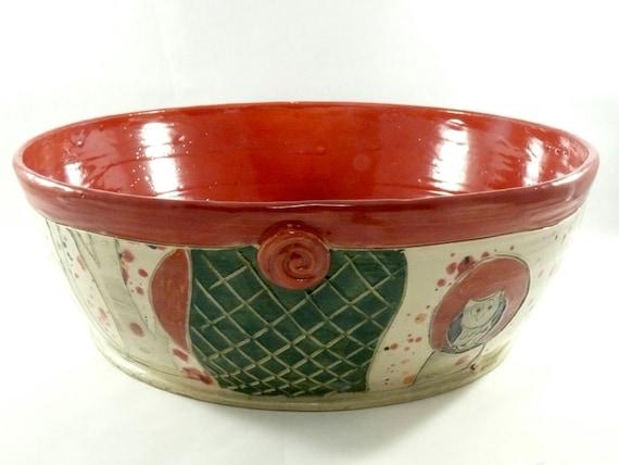 Large Red Ceramic Kitchen Serving Bowl, Pasta Serving Bowl in woodland  design pottery and ceramics, Art Vessel for Home Decor 330