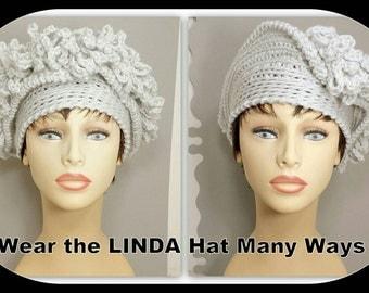 Cloche Hat 1920s, Womens Crochet Hat, Womens Hat Trendy, Steampunk Hat, Light Gray Hat, LINDA 1920s Cloche Hat Crochet Flower
