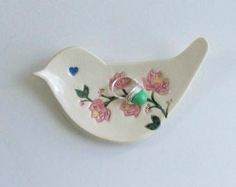 Ring Dish / Jewelry Dish, Hand Built Ceramic Bird Plate, Hand Painted Flower,  Choice of Colors
