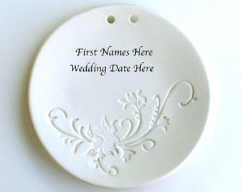 Personalized Porcelain ring dish, Custom Made with Names and Date, Wedding Ring Dish, Ceramic wedding ring holder