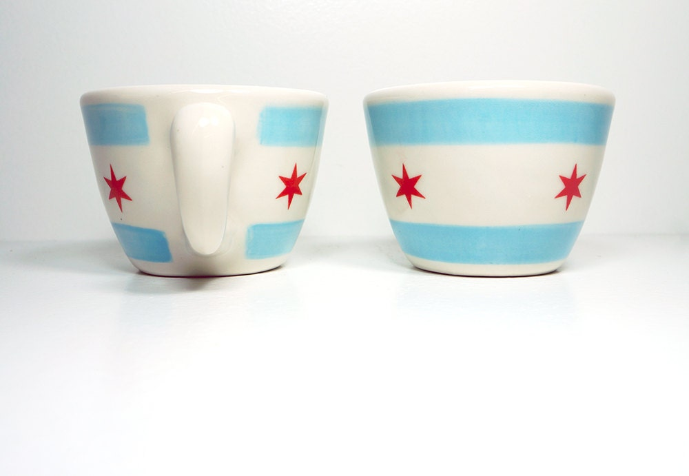 one (1) super rad 12oz cup/mug chicago flag - Made to Order