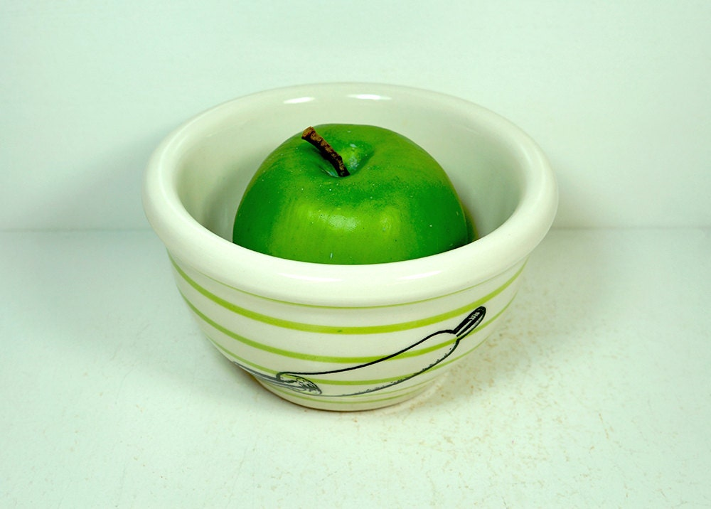 small bowl with pinstripes, shown here in Leaf with a Rolling Pin print. Ready to ship.