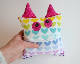 Rainbow Monster Tooth Fairy Pocket Pillow - Yellow PInk Aqua Purple Hearts