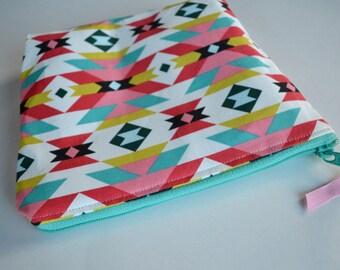 Aztec Zipper Pouch - Pink Coral Aqua Aztec Make up Bag - Cosmetic Pouch - Geometric Zipper Pouch - Aqua Pink Zipper Pouch