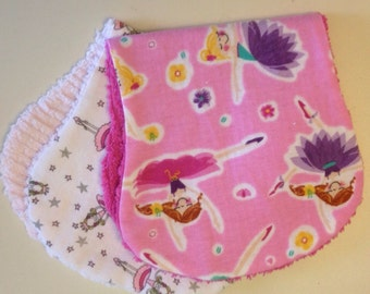Boutique Lot of 2 Ballerina and Chenille Baby Burp Pads
