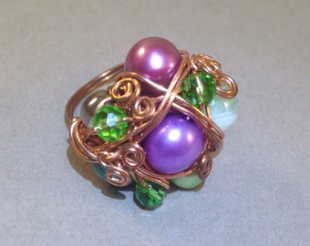 CLEARANCE: Green Pearl Ring - Pearl Cluster Ring - Statement Ring - Wire Wrap Ring - Copper Ring - Boho Chic - Gift For Her - SALE Ring