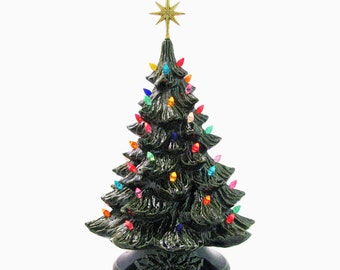 Grandma's Favorite Ceramic Christmas Tree Green Holly Base 18 Inches Tall Large 7 Point Gold Star - Made to Order