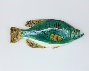Crappie ceramic fish art decorative wall hanging