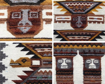 Vintage Alpaca Woven Tumi Peruvian Wall Hanging. Incan Birdman Medicine Man for Good Luck.