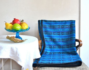 Wool Blanket Native American Design in Beautiful Blue & Black