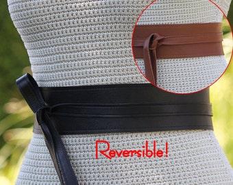 REVERSIBLE Black & Brown 2 Leather Colors Obi Wrap Belt - cinch style, size XS S M L XL Petite and Plus Size