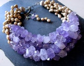 Juicy Grapes and Champagne LUXE Necklace - Faceted Lilac Amethyst Needles - Plump Top Drilled Pearls - Multi Strand Necklace - Etsy Jewelry