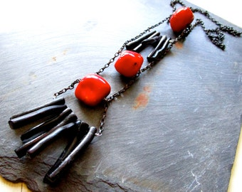 Black & Red Vintage Coral Necklace - Wilma Flintstone ABACUS - Blackened - Oxidized - Ladder - Statement - Chain - Etsy Jewelry - catROCKS