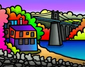 Menai Bridge - colourful fine art giclee print by Amanda Hone