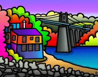 Menai Bridge - colourful fine art print by Amanda Hone