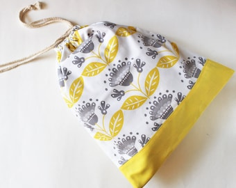 Drawstring bag, travel bag, laundry bag, shoe bag - dandelions in gray and yellow floral flower buttercup yellow
