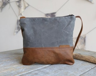 Waxed Canvas and Leather Crossbody Bag Slate / Handmade Leather and Canvas Purse / Foldover Bag with Strap
