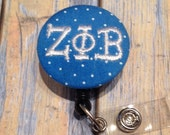 Greek Alpha Sorority Badge Reel Slide on Clip or Swivel Clip - Id Holder- Retractable
