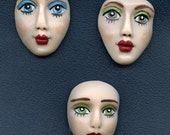 A Lot of 3  Fleshtone detailed  Polymer Face Cabs Un Drilled LADF 3