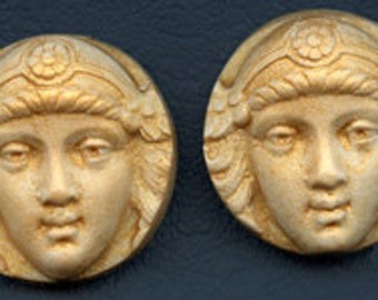 A Lot of 2 Polymer Clay Art Nouveau Golden Face Cabs Undrilled  SANP 2