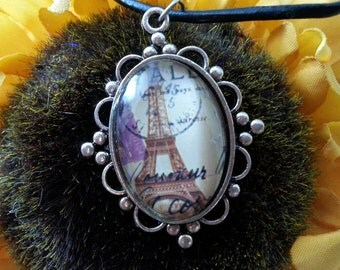 Eiffel tower cabochon pendant on a black cord necklace 2