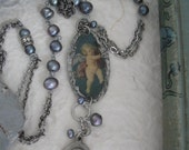Angel Love, long boho, religious medal, angel necklace, Madonna and Child, freshwater pearl, cherub, soldered pendant, long chain, ooak