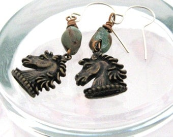 Bronze Turquoise Gemstone Horse Lover Earrings, Horse Head Charms, Equestrian Jewelry, Gift for Horse Lovers, Gift for Equestrian Riders