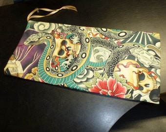 Drop Spindle Bag  Handmade Oriental Tattoo Design Cotton