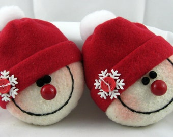 Snowman Ornaments, Christmas Decorations, Set of 2 Stuffed Snowman, Snowheads, Christmas Ornaments, Snowball,  Red Fleece