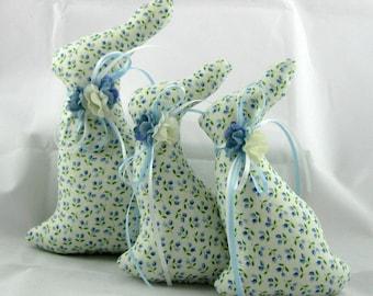 Stuffed Bunny, Easter Bunny, BUNNY Tuckin Set of 3, Bunny Tucks, Bunny Ornament, Bunny Decor, Easter Ornament, Blue Flowers