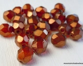 6mm Czech Glass Beads Firepolished Faceted - Sunset Maple (G - 434)