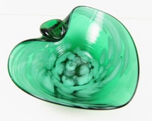 Vintage Art Glass Ashtray Hand Blown Green Teal with White Dots Mid Century Style Retro Catch All