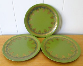 3 vintage metallic olive green melmac snack plates