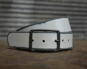 Distressed White Leather Belt by Fosterweld