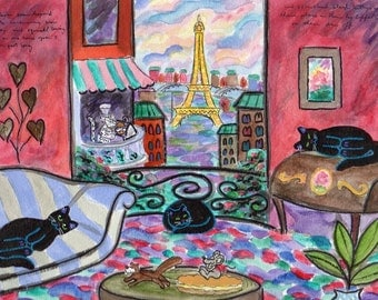 ORIGINAL PAINTING, 3 Over Tired Black Cat in Paris, on Their Day Off near the Eiffel Tower, Rare Snow Leopard BBQing, by DM Laughlin