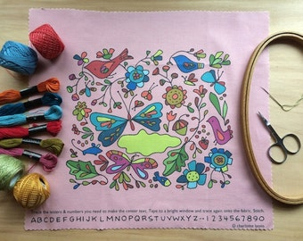 into the wild stitch sampler -pink- to personalize and color with thread