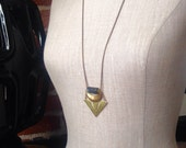 Black Serpentine Crescent Moon Geometric Necklace - Gemstone and Brass cut-out chevron pendant - Sacred Geometry Jewelry