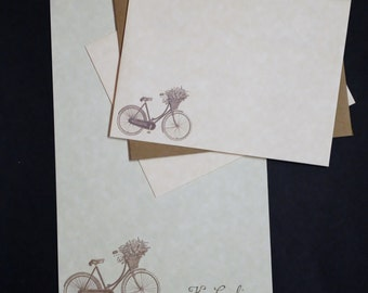 Vintage Bicycle, charming bike, social stationery, personalized letter writing set, parchment paper, 30 pieces, lined or unlined, penpal