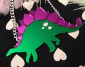 Stegosaurus Dinosaur Laser Cut Mirrored Acrylic Necklace