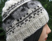 Knit Fair Isle Alpaca, Wool, and Angora Hat, Sheep Hat for Men Women, Winter Beanie, Natural Black, Gray, and White