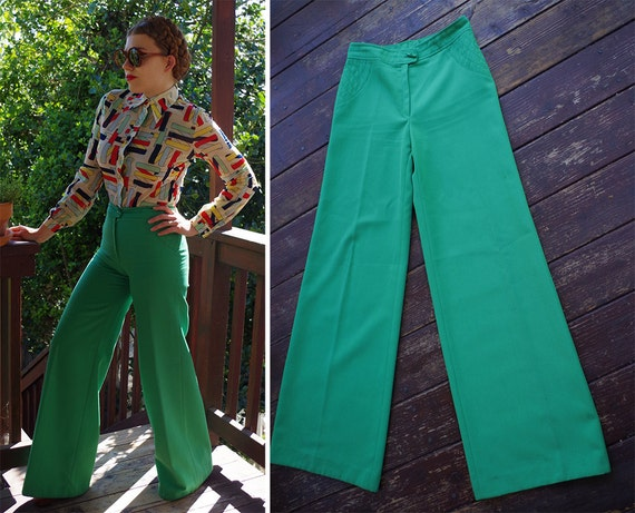 FUNKY Town 1970's Vintage Bright Green High Waist Bell Bottoms // Pants // by TWEN // size Small TALL // W27 28