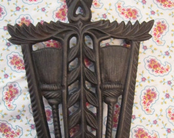 Vintage Virginia Metal Crafters Black Cast Iron Trivet with  Brooms