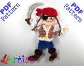 Pirate Girl Crochet Applique Pattern