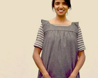 Artist's Smock in Hemp/Recycled Polyester/Spandex Chambray