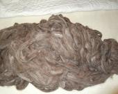 4 oz dark brown and white suri alpaca roving