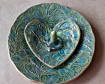 Ceramic jewelry dish and matching heart ring holder Moss Green  edged in gold