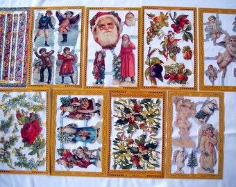 Set of (9) sheets Die Cut CHRISTMAS FLORAL Scrap Sheet Victorian ENGLAND Flowers 2539