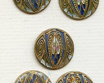 "Matching Set of (5) Antique Victorian Metal Art Nouveau Floral Painted  Buttons 15/16"" 1 inch size 1797"