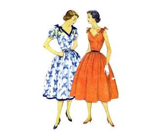 1950s V-Neckline Full Skirt Dress Simplicity 3890 Vintage Sewing Pattern Size 16 Bust 34